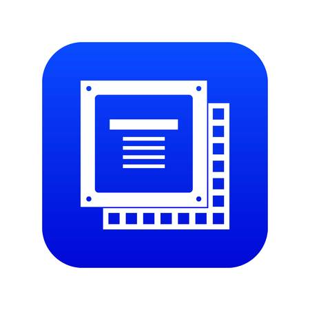 Computer CPU processor chip icon digital blue for any design isolated on white vector illustration