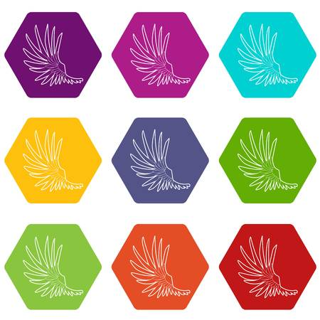 Wide wing icons set 9 vector