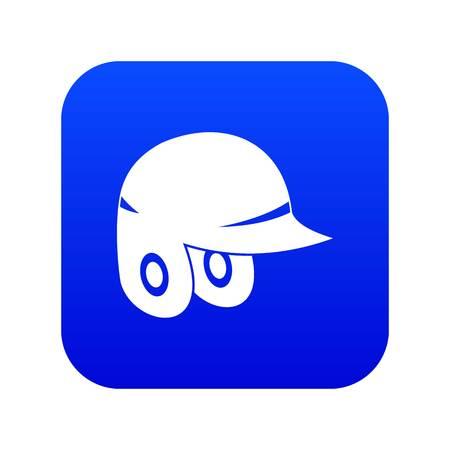 Baseball helmet icon digital blue for any design isolated on white vector illustration
