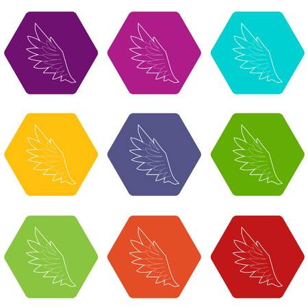 Bird wing icons 9 set coloful isolated on white for web
