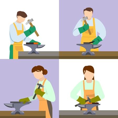 Anvil blacksmith icon set. Flat set of anvil blacksmith vector icons for web design Illustration