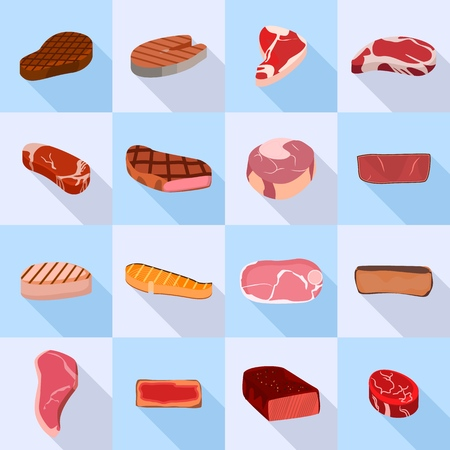 Steak icon set. Flat set of steak vector icons for web design Illustration