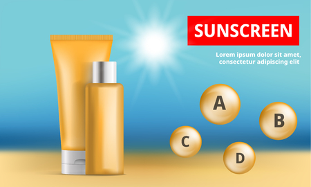 Sunscreen protection concept background. Realistic illustration of sunscreen protection vector concept background for web design Illustration