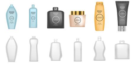 Shampoo icon set. Realistic set of shampoo vector icons for web design isolated on white background