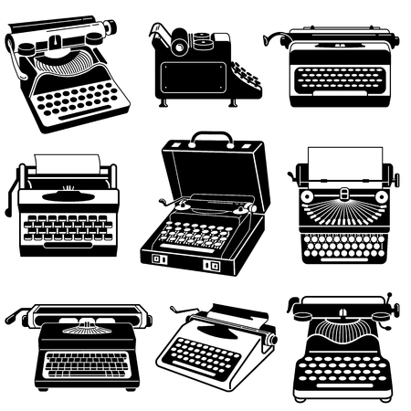 Typewriter icon set. Simple set of typewriter vector icons for web design on white background