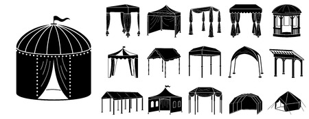 Canopy icon set. Simple set of canopy vector icons for web design on white background 向量圖像