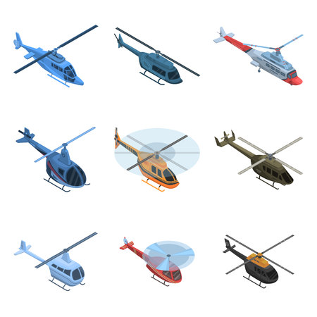 Helicopter icon set. Isometric set of helicopter vector icons for web design isolated on white background