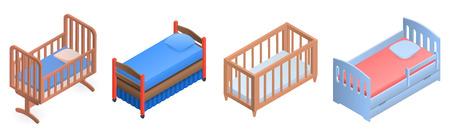 Crib icon set. Isometric set of crib vector icons for web design isolated on white background Illustration