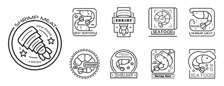Shrimp icon set. Outline set of shrimp vector icons for web design isolated on white background