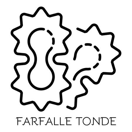 Farfalle tonde icon. Outline farfalle tonde vector icon for web design isolated on white background