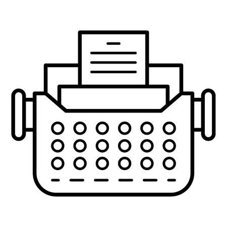 Icono de máquina de escribir antigua. Esquema de máquina de escribir antigua icono vectoriales para diseño web aislado sobre fondo blanco. Ilustración de vector