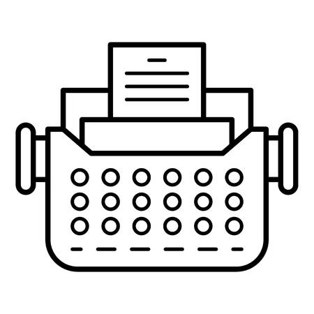 Old typewriter icon. Outline old typewriter vector icon for web design isolated on white background Ilustração Vetorial