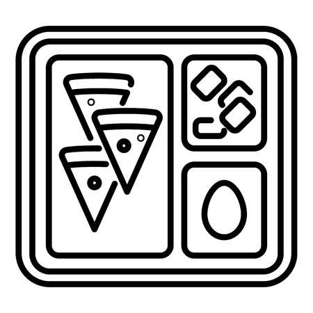 Schulsymbol für das Mittagessen. Umreißen Sie das Mittagessen Schule Tablett Vektorsymbol für Webdesign isoliert auf weißem Hintergrund
