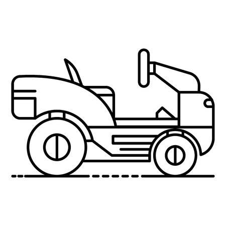 Rasenmäher-Traktor-Symbol. Umreißen Sie das Rasenmäher-Traktor-Vektorsymbol für das Webdesign, das auf weißem Hintergrund lokalisiert wird
