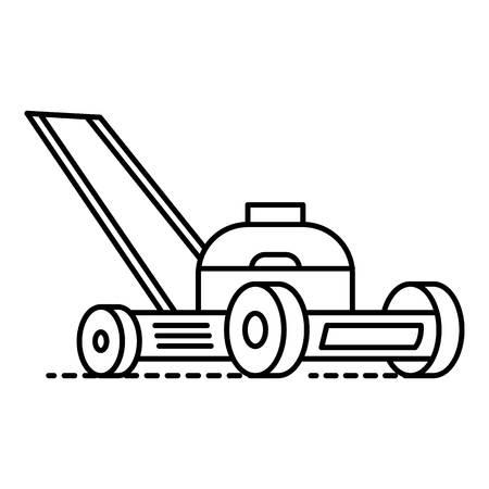 Motor Grasschneider-Symbol. Umreißen Sie das Vektorsymbol des Motorgrasschneiders für das Webdesign, das auf weißem Hintergrund lokalisiert wird