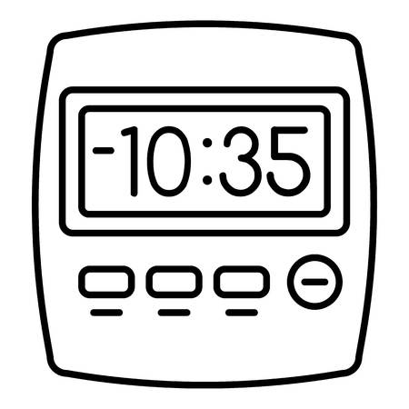 Clock kitchen timer icon. Outline clock kitchen timer vector icon for web design isolated on white background