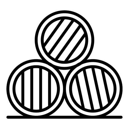 Symbol für Whisky-Fass-Stapel. Umreißen Sie das Symbol für den Whisky-Fassstapel-Vektor für das Webdesign, das auf weißem Hintergrund