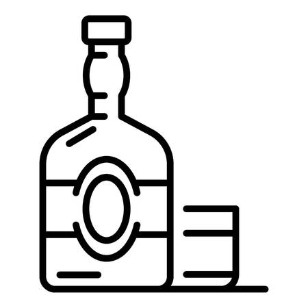 Old whisky bottle icon. Outline old whisky bottle vector icon for web design isolated on white background