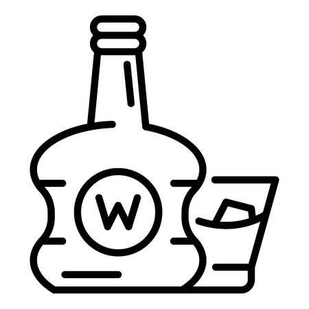 Premium whisky bottle icon. Outline premium whisky bottle vector icon for web design isolated on white background Vectores