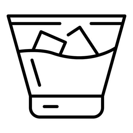 Cold whiskey glass icon. Outline cold whiskey glass vector icon for web design isolated on white background