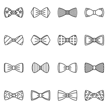 Conjunto de iconos de pajarita, estilo de contorno Ilustración de vector