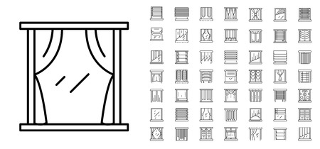 Blind window icon set, outline style