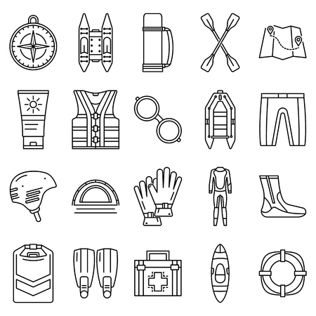 Rafting icon set, outline style Illustration