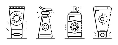 Sunscreen icon set, outline style