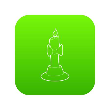 Candle icon green vector