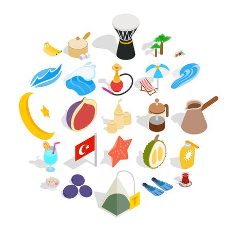 Turkey icons set. Isometric set of 25 turkey vector icons for web isolated on white background