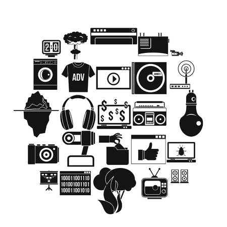 Telly icons set. Simple set of 25 telly vector icons for web isolated on white background Ilustração