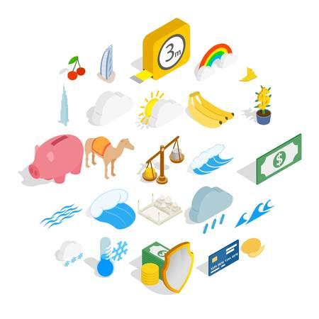 Multipurpose icons set. Isometric set of 25 multipurpose vector icons for web isolated on white background Vettoriali