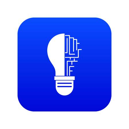 Circuit board inside light bulb icon digital blue for any design isolated on white vector illustration