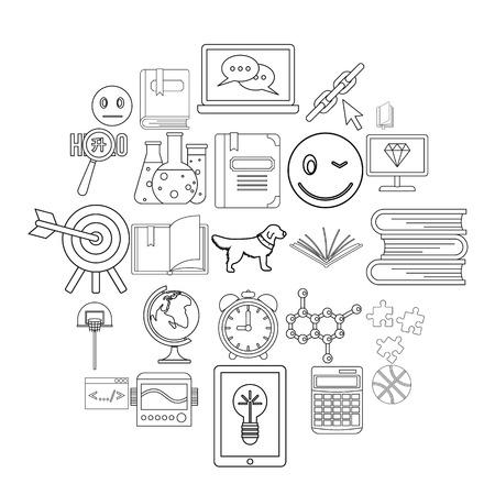 University graduate icons set. Outline set of 25 university graduate vector icons for web isolated on white background Ilustração