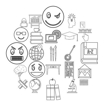 University degree icons set. Outline set of 25 university degree vector icons for web isolated on white background
