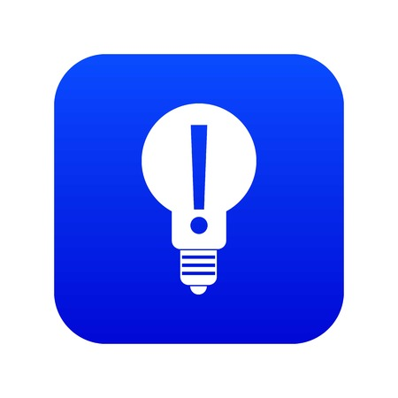 Light bulb with exclamation mark inside icon digital blue for any design isolated on white vector illustration Illustration