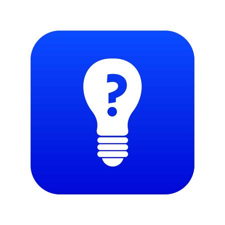 Light bulb with question mark inside icon digital blue for any design isolated on white vector illustration Illustration