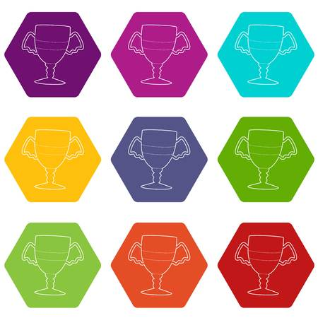 Winner cup icons set 9 vector