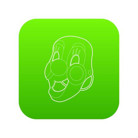 Clown mask icon green vector