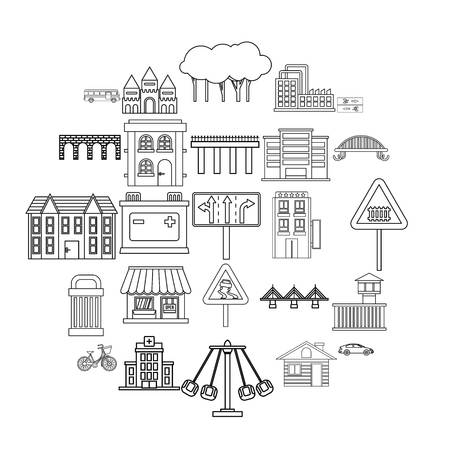 Modern architecture icons set. Outline set of 25 modern architecture vector icons for web isolated on white background