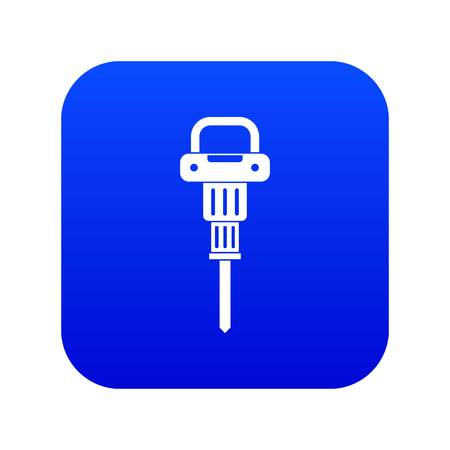 Pneumatic hammer icon digital blue for any design isolated on white vector illustration Stock Illustratie