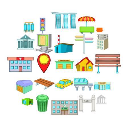 Schöne Stadtikonen eingestellt. Karikatursatz von 25 schönen Stadtvektorikonen für das Netz lokalisiert auf weißem Hintergrund