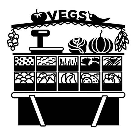 Vegetable stall icon. Simple illustration of vegetable stall vector icon for web design isolated on white background