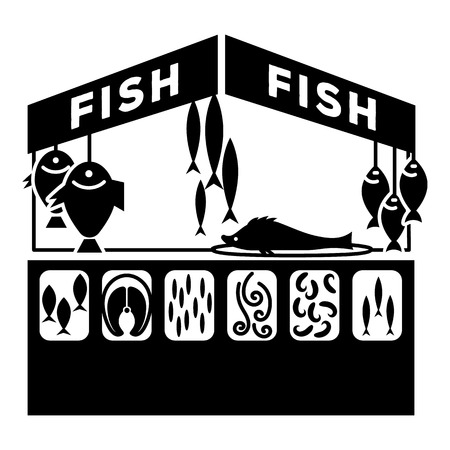 Fish street kiosk icon. Simple illustration of fish street kiosk vector icon for web design isolated on white background Illustration