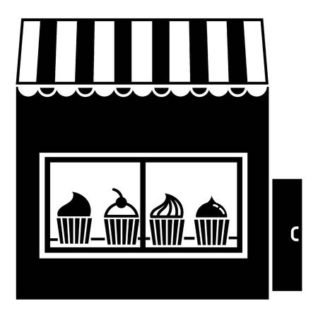 Street cake kiosk icon, simple style