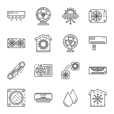 Conditioner icon set. Outline set of conditioner vector icons for web design isolated on white background