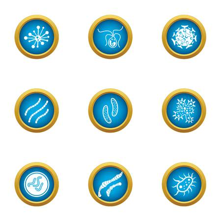Bacterial intervention icons set, flat style Stock Photo