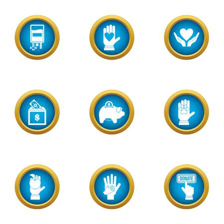 Donate welfare icons set, flat style