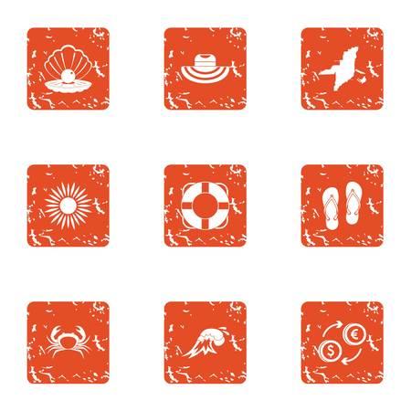 Cabotage icons set, grunge style