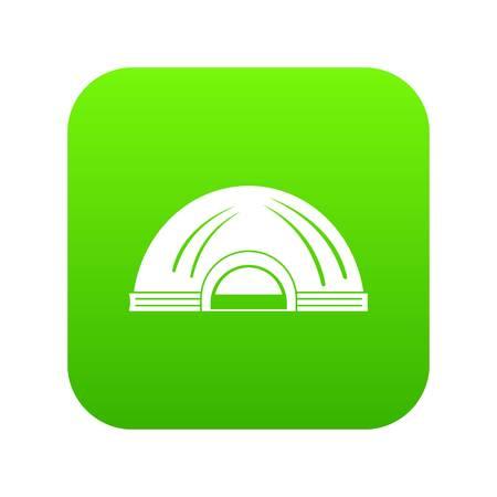 Aboriginal dwelling icon green Stock Photo